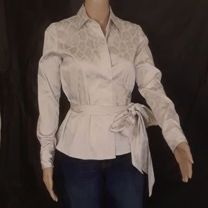 Ann Taylor Shimmery Oyster Wrap Top - Size 2